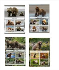 2017 GRIZZLY BEARS BEAR 8 SOUVENIR SHEETS MNH UNPERFORATED