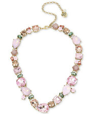 NWT Betsey Johnson Marie Antoinette Rose Gold Pink Stone Statement Bib Necklace