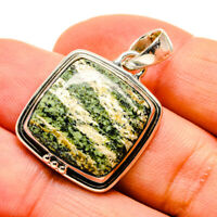 "Green Vein Jasper 925 Sterling Silver Pendant 1 1/4"" Ana Co Jewelry P755573F"