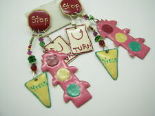 LUNCH AT THE RITZ Vtg ENAMEL PAINTED EARRINGS Traffic Signs STOP LIGHT YIELD '88