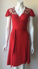 Zachary's Smile Red Flutter Cap Sleeve Wrap Dress Size XS Summer Sexy