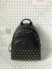 NWT Michael Kors Abbey Medium Studded Leather Backpack School Bag Black