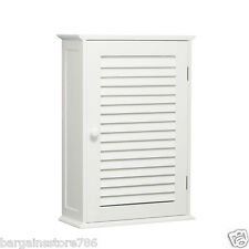 Single Door Shutter Two Shelf White Bathroom Wall Mounted Storage Cabinet Style