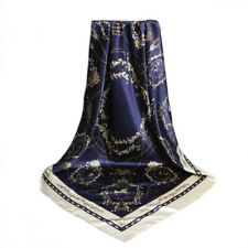 Carré Foulard  - 100%  Soie Thème Equestre Bleu Blanc Silk séide scarf shawl