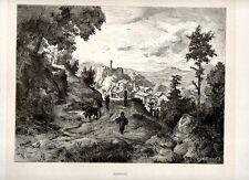 Stampa antica Veduta di OLEVANO Campagna di Roma 1880 Old print Engraving