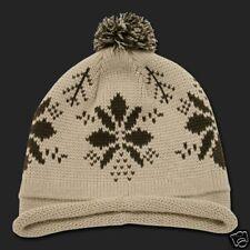 Tan Beige Snowflake Roll Up Pom Beanie Cap Winter Hat Winter Stocking Cap