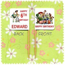 20 PERSONALISED TOY STORY WOODY BUZZ CUP CAKE FLAG Party Pick Topper Birthday