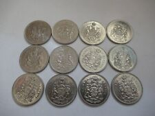 CANADA ELIZABETH 2  50 CENT COINS  X 12 DIFFERENT DATES FROM 1968 TO 1982