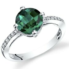 14k White Gold Created Emerald Solitaire Diamond Ring 1.75 Carats Size 7