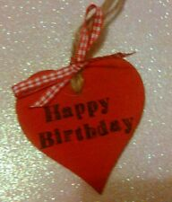 Hand painted & stamped red, 'happy birthday' wooden heart. Shabby chic