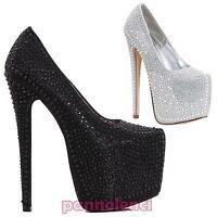 Decolletè scarpe donna STRASS gioiello tacchi alti 18 cm plateau nuove K2D5209-2