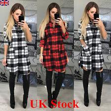 UK Womens Check Shirt Mini Dress Casual Long Sleeve Plaid Tartan Romper Dress