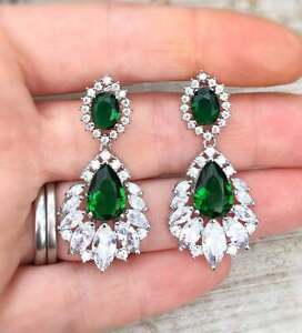 14k White Gold Over Estate Colombian Emerald & Diamond Drop Chandelier Earrings