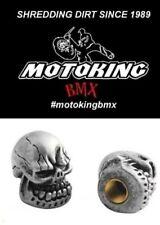 MotoKing Bmx Voodoo Skull Schrader Valve Caps Silver ( Pair )