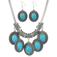 Fashion Set Turquoise Drop Pendant Choker Chunky Necklace Earrings Women Jewelry