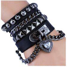 Love You Heart Trendy Dark Black Wide Cuff Leather Strap Bracelet Multi Circle