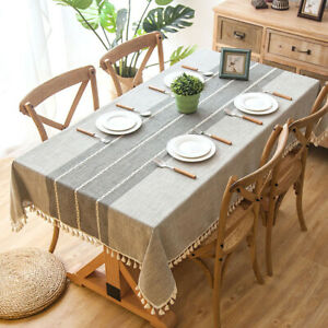 Party-Rectangle Linen Tablecloth Nordic Style Table Cover Tasseled Edges