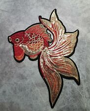 LARGE FISH PATCH RED ORANGE GOLD SEW ON APPLIQUE