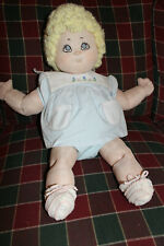 "Vintage Handmade 23"" Soft Body Doll Blonde Blue Eyes Hand Embroidered Face"