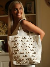 Kate Spade Studded Leather Bow Terrace Tosha  Tote Travel Bag Shopper Ivory Bone