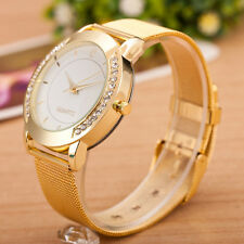 Fashion Women Bracelet Crystal Golden Stainless Steel Analog Quartz Wrist Watch