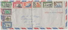 GILBERT & ELLICE ISLANDS 1958 multi franked (9 different values) on cover to NZ