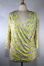 New York & Company Yellow Print Faux Wrap Short Sleeve Top XL Women's