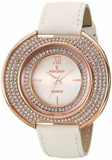 NEW-PEUGEOT ROSE GOLD TONE,WHITE LEATHER BAND,CURVED CRYSTAL DIAL WATCH J6371RWT