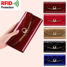 Women's Genuine Leather Long Wallet ID Credit Card Holder Money Clutch Purse Bag