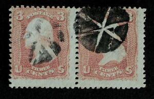 Scott US 65 1861 3¢ Wash. Fancy Used Pair / Geometric Radial Cancel