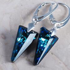 925 Sterling Silver Dangle Earrings Bermuda Blue Spike Crystals from Swarovski®