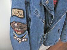 Harley Davidson Vintage Panhead Denim Flannel-Lined Convertible Vest/Jacket MED
