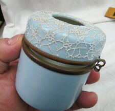rare coralene coral designed vanity box / hair receiver / round hinged & blue