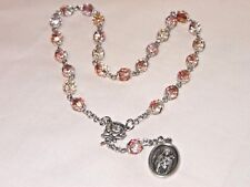 Handmade Rosary Chaplet St Therese of Lisieux Rose Bead Silver Plate Cap