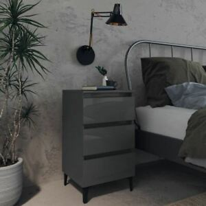 High Gloss Nightstand With 3 Drawers Stylish Bedroom Furniture Bedside Cabinet