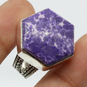 Purple Turquoise 925 Silver Plated Handmade Gemstone Ring of US Size 9.25  Gift