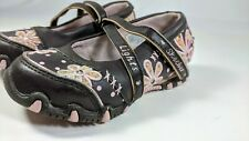 Skechers 82645L Girls 7 Youth Brown Leather Pink Floral Sequin Mary Jane Flat