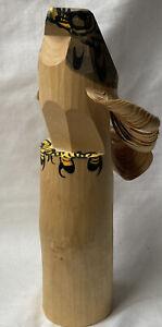 Vintage Japanese Sasano Bori Hand Carved Wooden Hawk Bird Totem Signed