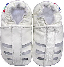 carozoo  sandals white 6-12m soft sole leather baby shoes