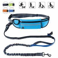 Hands Free Dog Running Leash with Waist Pocket Adjustable Belt Shock Absorb D2O5