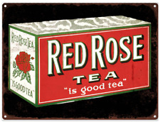 "Red Rose Tea Metal Sign Ad Repro Coffee  9x12"" 60224"