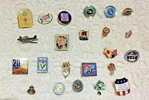Lot 21 Lapel-Tie Pins-Clown-Owl-Flower-Alaska-Airplane-Pride