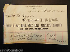 J.D. Pratt Agricultural Implements and General Merchandise Invoice 1884