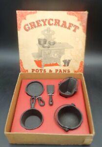 VINTAGE GREY IRON  CAST IRON GREYCRAFT POTS & PANS in BOX