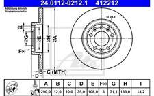 1x ATE Disco de Freno Trasero Pleno 290mm 24.0112-0212.1