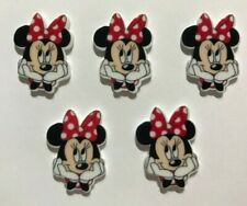 5 X RED MINNIE MOUSE PLANAR RESIN FLATBACK EMBELLISHMENT CRAFT SCRAPBOOKING BOWS