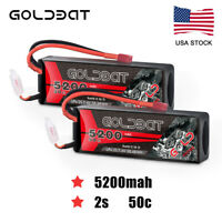 2pcs 5200mAh 2S 50C 7.4V LiPo Battery Hardcase Deans Plug for RC Car Truck Boat