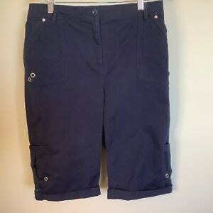 Noni B women's Cargo Shorts Size 14 Blue Knee Length 92% Cotton Elastic Back