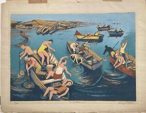 "Harry Gottlieb WPA ARTIST ""Sunday Fisherman"" Signed Original Screen-print 76/100"