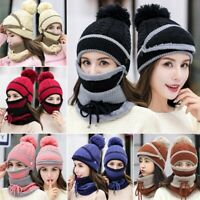 Women Knitted Beanie Scarf Hat Face Snood Neck Winter Pompom Cap Breathing valve